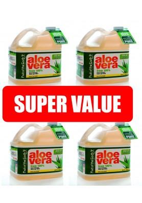 Алое Вера 99.8% Сок от вътрешен гел - изгоден пакет: 4 бр. по 3.8 литра /15.79лв. на литър/