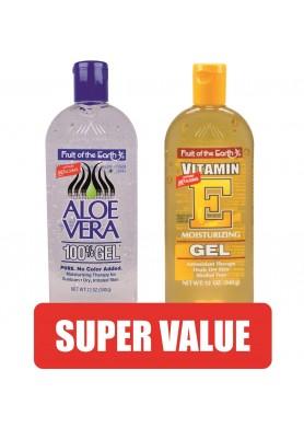 Гел 100% Алое Вера и Гел Алое Вера, обогатен с Витамин Е за лице, тяло, коса и скалп изгоден пакет: 2бр. по 340гр.